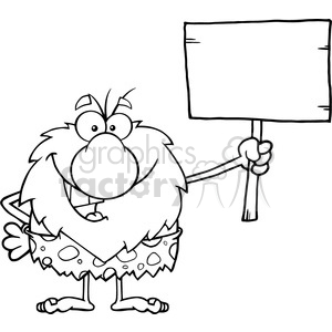 black and white happy male caveman cartoon mascot character holding a wooden board vector illustration
