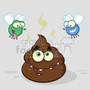 cartoon poo poop stink stinky defecate waste flies insect smelly pile
