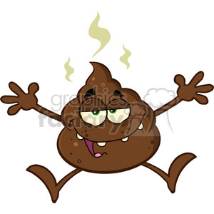 royalty free rf clipart illustration happy poop cartoon mascot character jumping vector illustration isolated on white clipart. Royalty-free image # 399229