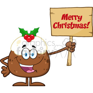 royalty free rf clipart illustration happy christmas pudding cartoon character holding up a blank wood sign with text vector illustration isolated on white clipart. Royalty-free image # 399269