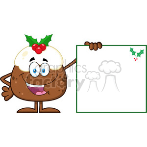 royalty free rf clipart illustration jolly christmas pudding cartoon character presenting a blank sign with a holly corner vector illustration isolated on white clipart. Royalty-free image # 399279
