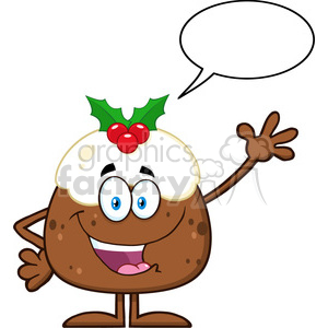 royalty free rf clipart illustration happy christmas pudding cartoon character waving with speech bubble vector illustration isolated on white clipart. Royalty-free image # 399289