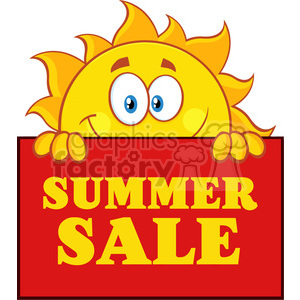 royalty free rf clipart illustration cheerful sun cartoon mascot character over a sign board with text summer sale vector illustration isolated on white background clipart. Royalty-free image # 399300