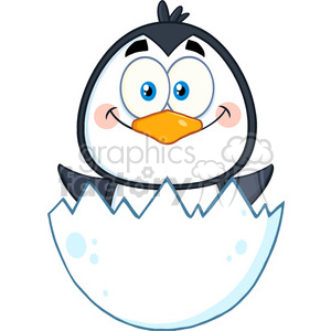 royalty free rf clipart illustration surprise baby penguin cartoon character out of an egg shell vector illustration isolated on white clipart. Royalty-free image # 399338