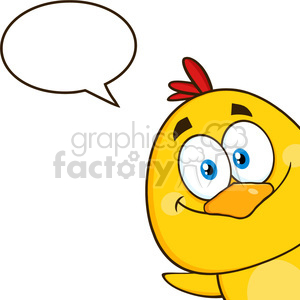 royalty free rf clipart illustration smiling yellow chick cartoon character peeking around a corner with speech bubble vector illustration isolated on white clipart. Commercial use image # 399348
