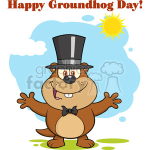royalty free rf clipart illustration smiling marmot cartoon character with open arms in groundhog day vector illustration with background and text clipart. Royalty-free image # 399358