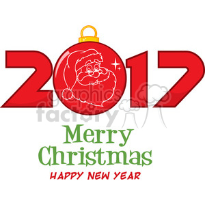 2017 new years eve greeting with christmas ball and santa face and text vector illustration isolated on white clipart. Royalty-free image # 399368