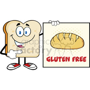illustration talking bread slice cartoon mascot character pointing to a sign gluten free vector illustration isolated on white background clipart. Royalty-free image # 399378