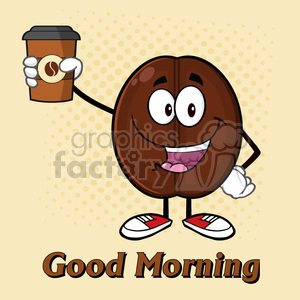 illustration cute coffee bean cartoon mascot character holding up a coffee cup vector illustration with text and background clipart. Commercial use image # 399388
