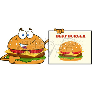 illustration smiling burger cartoon mascot character pointing to a sign banner with text best burger vector illustration isolated on white background clipart. Royalty-free image # 399398