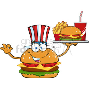 illustration american burger cartoon mascot character holding a platter with burger, french fries and a soda vector illustration isolated on white background clipart. Commercial use image # 399408