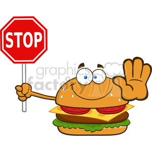 illustration smiling burger cartoon mascot character holding a stop sign vector illustration isolated on white background clipart. Royalty-free image # 399428