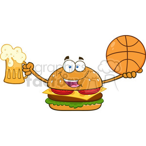 illustration happy burger cartoon mascot character holding a beer and basketball vector illustration isolated on white background clipart. Royalty-free image # 399447