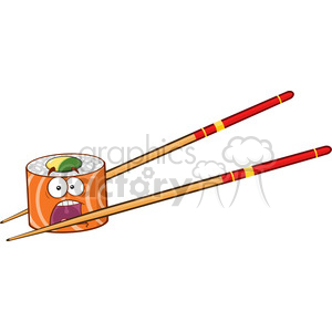 9408 illustration panic sushi roll cartoon mascot character with chopsticks vector illustration isolated on white clipart. Royalty-free image # 399459