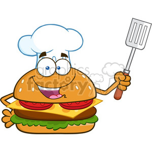 illustration chef burger cartoon mascot character holding a slotted spatula vector illustration isolated on white background clipart. Royalty-free image # 399469