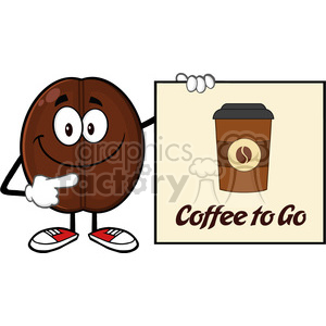 illustration smiling coffee bean cartoon mascot character pointing to a sign coffe to go vector illustration isolated on white clipart. Commercial use image # 399479