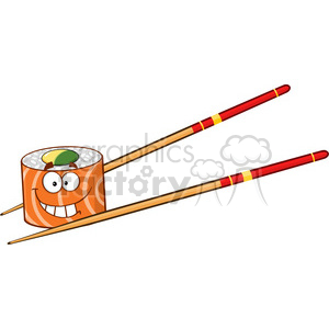 illustration smiling sushi roll cartoon mascot character with chopsticks vector illustration isolated on white clipart. Commercial use image # 399499