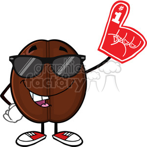 illustration funny coffee bean cartoon mascot character with sunglases wearing a foam finger vector illustration isolated on white clipart. Commercial use image # 399509