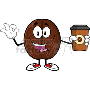 illustration happy coffee bean cartoon mascot character holding a coffee cup and gesturing ok vector illustration isolated on white clipart. Commercial use image # 399519