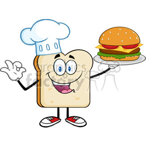 illustration chef bread slice cartoon character presenting perfect hamburger vector illustration isolated on white background clipart. Royalty-free image # 399529