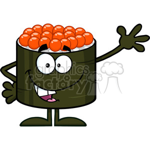 illustration cute sushi roll cartoon mascot character with caviar waving vector illustration isolated on white clipart. Royalty-free image # 399539
