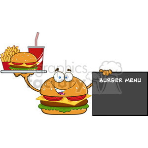 burger cartoon mascot character holding a platter with burger, french fries and soda by sign  burger menu vector illustration isolated on white background clipart. Commercial use image # 399549