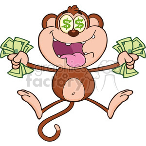 royalty free rf clipart illustration greedy monkey cartoon character jumping with cash money and dollar eyes vector illustration isolated on white clipart. Royalty-free image # 399594