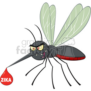 royalty free rf clipart illustration mosquito cartoon character flying with blood drop and text zika vector illustration isolated on white clipart. Royalty-free image # 399624