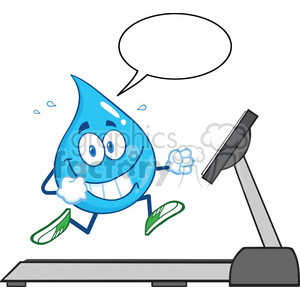 royalty free rf clipart illustration healthy water drop cartoon character running on a treadmill with speech bubble vector illustration isolated on white