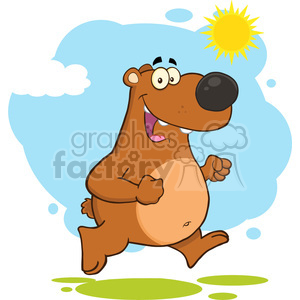 royalty free rf clipart illustration smiling brown bear cartoon character running vector illustration with background isolated on white