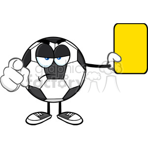 soccer ball cartoon mascot character referees pointing and showing yellow card vector illustration isolated on white background clipart. Commercial use image # 399712
