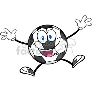 happy soccer ball cartoon mascot character jumping vector illustration isolated on white background clipart. Royalty-free image # 399722