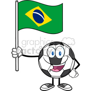 happy soccer ball cartoon mascot character holding a flag of brazil vector illustration isolated on white background clipart. Royalty-free image # 399742
