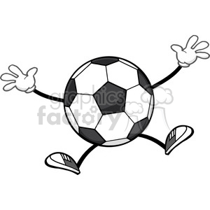 soccer ball faceless cartoon mascot character jumping vector illustration isolated on white background clipart. Royalty-free image # 399752