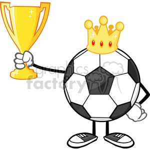 king soccer ball faceless cartoon character with crown holding a golden trophy cup vector illustration isolated on white background clipart. Royalty-free image # 399762
