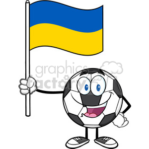 happy soccer ball cartoon mascot character holding a flag of ukraine vector illustration isolated on white background clipart. Royalty-free image # 399772