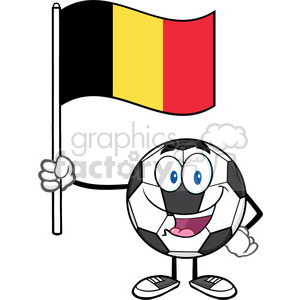 happy soccer ball cartoon mascot character holding a flag of belgium vector illustration isolated on white background clipart. Royalty-free image # 399792