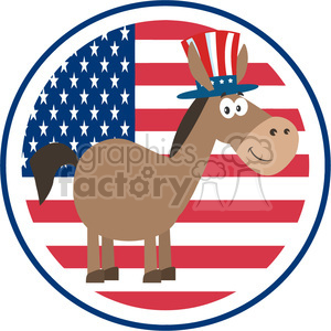 9317 funny democrat donkey cartoon character with uncle sam hat over usa flag label vector illustration flat design style isolated on white clipart. Royalty-free image # 399822