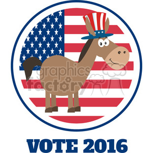 democrat donkey cartoon character with uncle sam hat over usa flag label vector illustration flat design style isolated on white clipart. Commercial use image # 399832