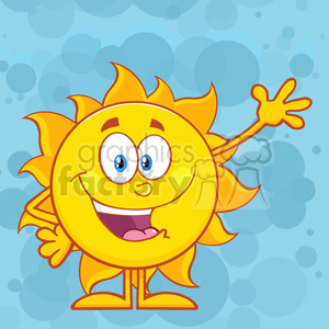 10107 happy sun cartoon mascot character waving for greeting vector illustration over blue background clipart. Royalty-free image # 399853