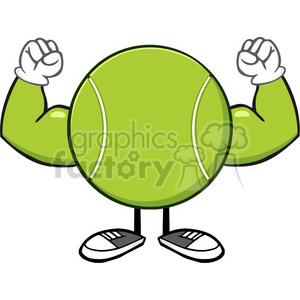 tennis ball faceless cartoon mascot character flexing vector illustration isolated on white background clipart. Royalty-free image # 399863