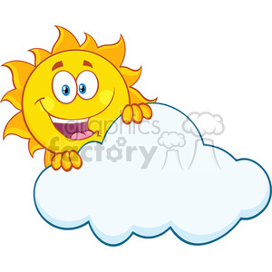 happy summer sun mascot cartoon character hiding behind cloud vector illustration isolated on white background clipart. Commercial use image # 399883