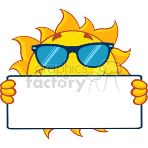 cute sun cartoon mascot character with sunglasses holding a blank sign vector illustration isolated on white background clipart. Royalty-free image # 399893