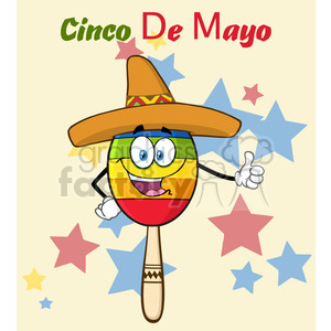 happy colorful mexican maracas cartoon mascot character with sombrero hat giving a thumbs up vector illustration with background and text cinco de mayo clipart. Royalty-free image # 399903