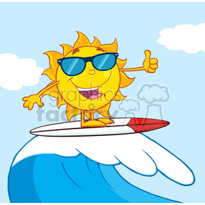 surfer sun cartoon mascot character with sunglasses riding a wave and showing thumb up vector illustration with background clipart. Royalty-free image # 399913