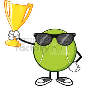 tennis ball faceless cartoon mascot character with sunglasses holding a trophy cup vector illustration isolated on white background clipart. Royalty-free image # 399923