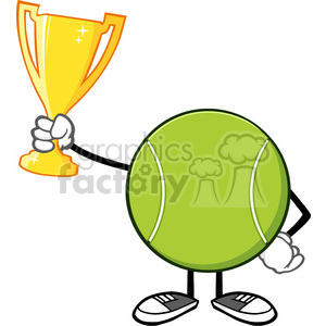 tennis ball faceless cartoon mascot character holding a trophy cup vector illustration isolated on white background clipart. Commercial use image # 399933