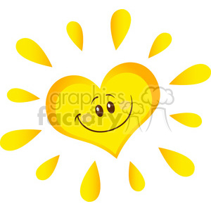 smiling sun heart cartoon mascot character in gradient vector illustration isolated on white background clipart. Commercial use image # 399963
