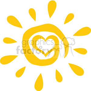 abstract sun with heart simple design vector illustration isolated on white background clipart. Royalty-free image # 399973