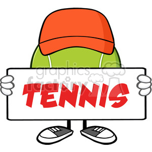 tennis ball faceless cartoon mascot character with hat holding a blank sign vector illustration with text tennis isolated on white background clipart. Royalty-free image # 399983